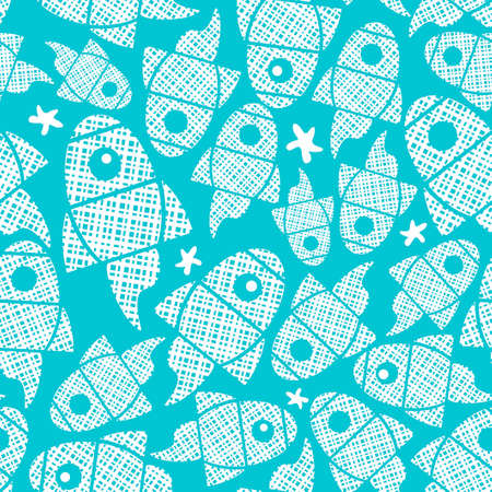 Seamless pattern with abstract fishes in the blue sea.