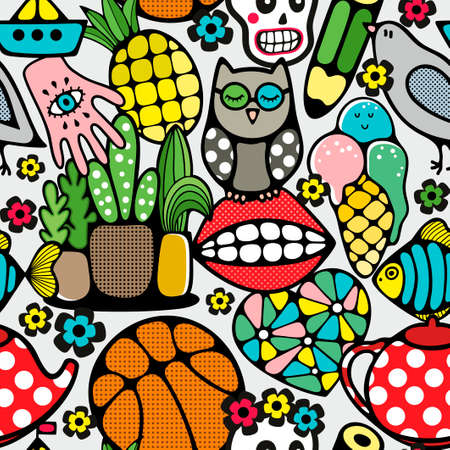 Seamless pattern with body parts, nirds and toys. Vector wallpaper in doodle style. Foto de archivo - 123025717