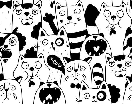 Seamless pattern with crowd of nlack and white cats.