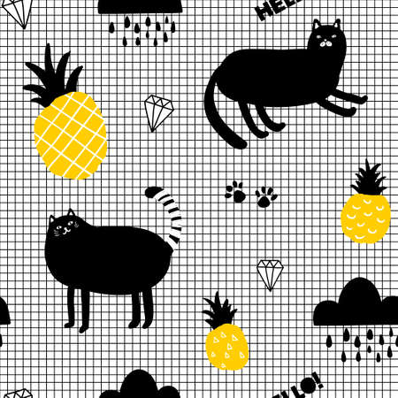 Creative seamles wallpaper in scandinavian style with cats and pineapples. Vector endless background.  イラスト・ベクター素材