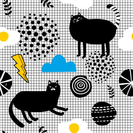 Seamles wallpaper in scandinavian style with black cats and yellow pineapples. Vector endless background.
