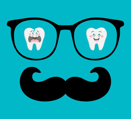 Abstract face of man in glasses with moustaches. Vector image in retro style.