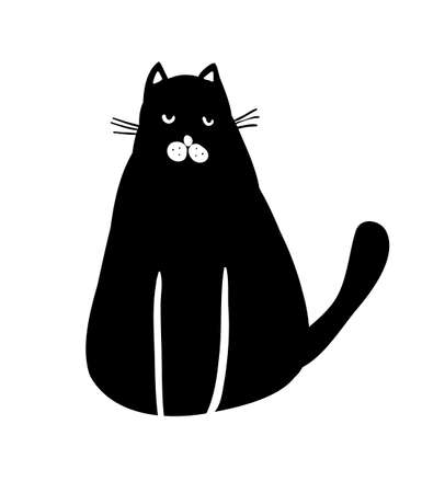 Black and white portrait of cute pet cat on the floor. Home animal isolated on the white background. Illustration