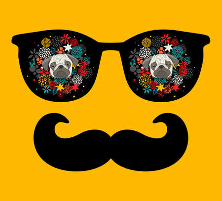 Abstract face of man in glasses with moustaches. Vector image in retro style. Stockfoto - 123025736