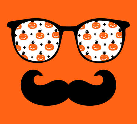 Abstract face of man in glasses with moustaches. Stockfoto - 124950358