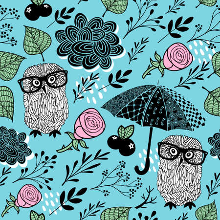 Cute seamless background with smart owls and umbrellas. Vector pattern. Reklamní fotografie - 123980973