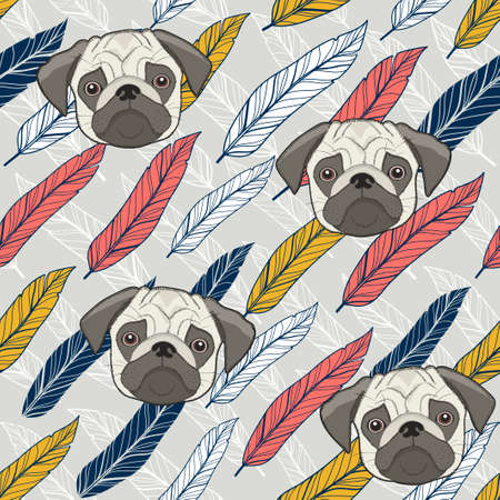 Cute pug seamless background with colorful feathers.