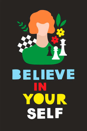 Colorful modern card or poster with woman portrait, chess and positive message.