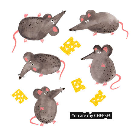 Watercolor hand drawn mouse with doodle cheese card.