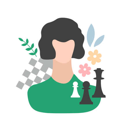 Smart young woman with her occupations objects - chess and desk. Stok Fotoğraf