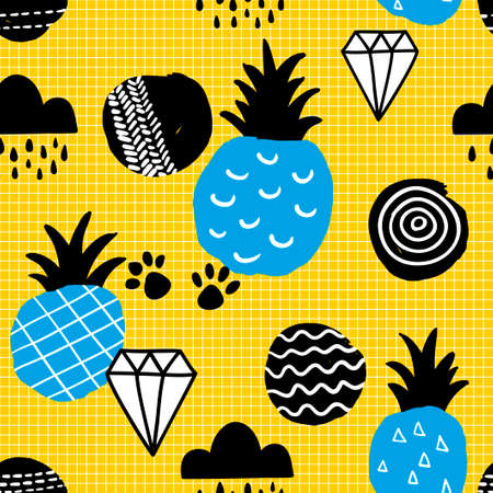 Seamless pattern with blue pineapples on striped yellow background. Vector illustration best for children fabric and wrapping paper.
