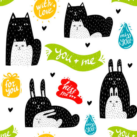 Cute colorful seamless pattern with doodle animals and positive messages isolated on white background. Foto de archivo - 134869981