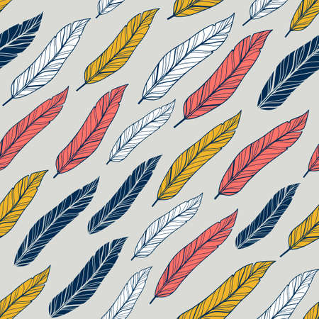 Seamless pattern with colorful feathers from birds.