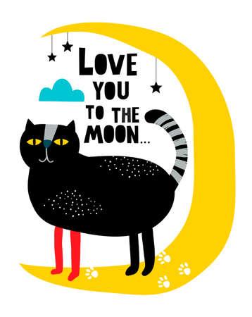 Creative modern print with cat on the moon in scandinavian style. Foto de archivo - 134869990