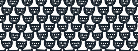 Simple cat faces seamless pattern in black and white colors. Foto de archivo - 134869992