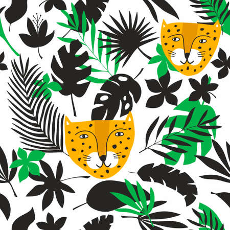 Endless background with jungle leaves and tropical animals. Vector pattern of wild cats - leopards, best for baby room decoration or funny prints on kids fabric. Illusztráció