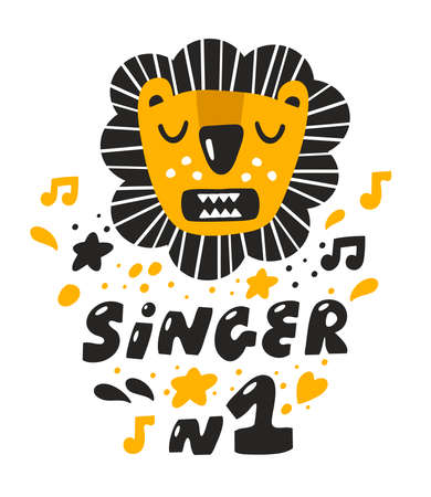Cute lion with opened mouth singin a song for little one. Poster or card design for child or baby room decor. Funny singer number one.