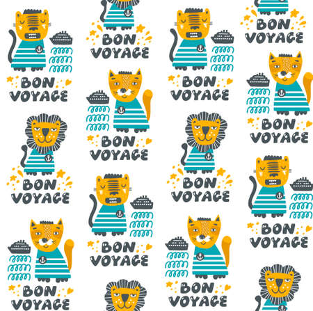 Surface seamless pattern with lettering and cute animals going to travel via ship in the ocean.