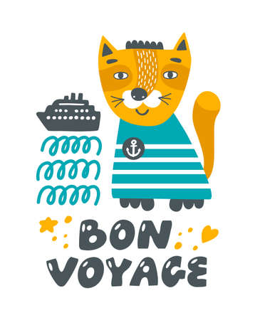 Cute red cat with waves, travelling ship and lettering. Illusztráció