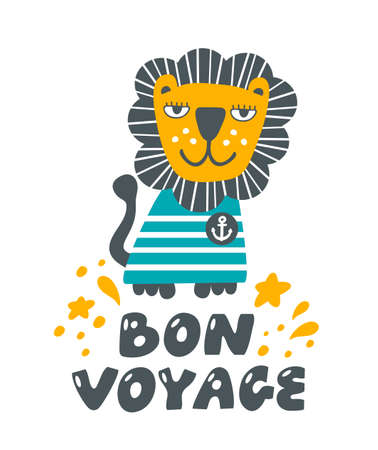 Lion as a sailor funny poster for kids room.