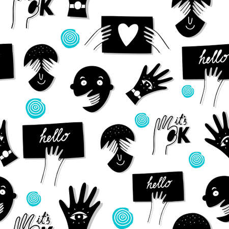 Seamless pattern with black and white doodle faces and arms. Foto de archivo - 134867092