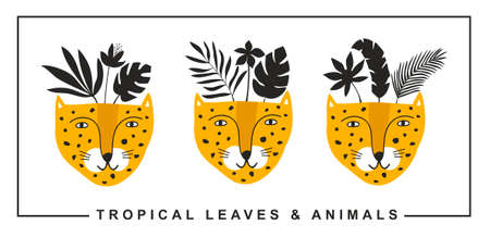Set of cute leopards faces with black tropical leaves on the head.