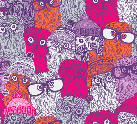 Endless pattern with pink owls in funny doodle style.