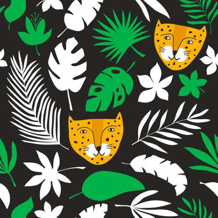 Seamless pattern with wild leopard hand drawn in childish style. Foto de archivo - 134871517