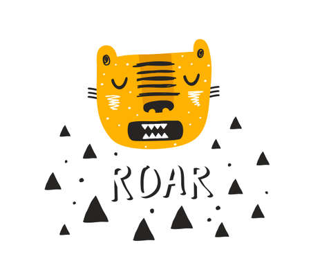 Scandinavian print in cartoon style with tiger face.
