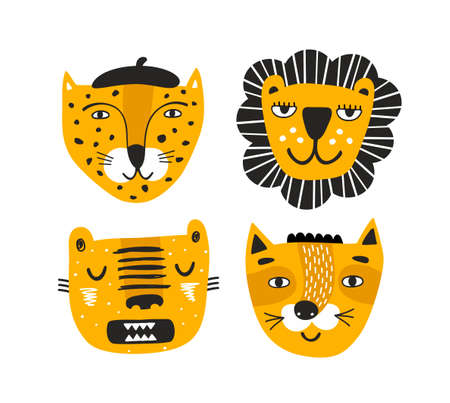Set of red faces of safari animals tiger, lion, leopard and wild cat.
