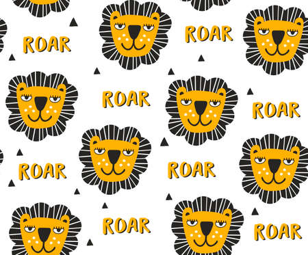 Seamless pattern with heads of lions. Vector art.