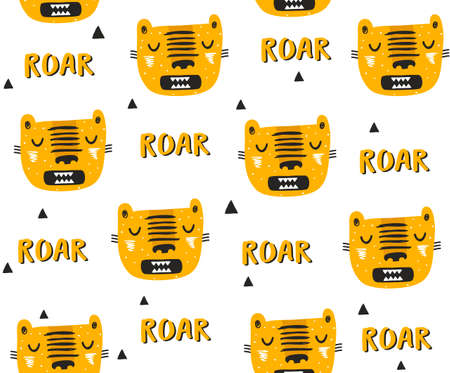 Seamless pattern with tigers drawn in simple scandinavian style.