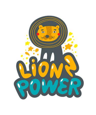 Cute and friendly lion on lettering. Vector art. Foto de archivo - 134871576
