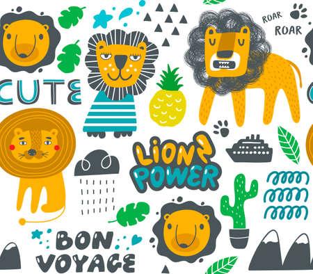 Set of cute lions and nature elements. Vecteurs