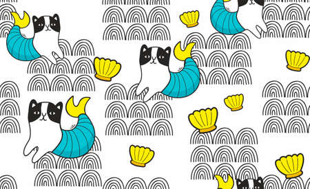Cat mermaid in abstract waves with shell seamless pattern.