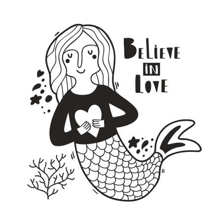 Cute mermaid in black and white colors print.