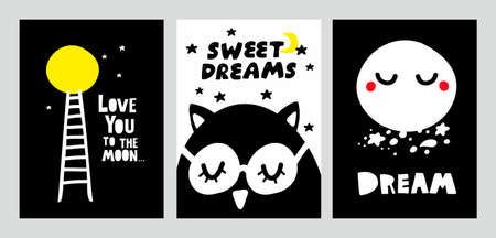 Cute scandinavian style posters for night dreaming with lettering. Ilustração
