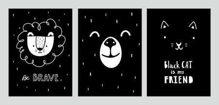 Black and white nursery room designed posters. Ilustração