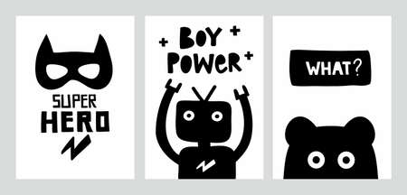Scandinavian monochrome posters with doodle characters and lettering.