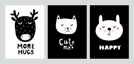 Nordic design prints with cute animals. Black and white decor in baby room. Vector illustration with bunny, cat and deer. Ilustração