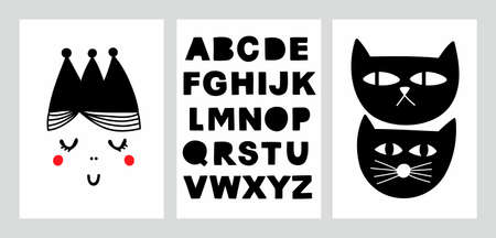 Scandinavian prints collection in girls room. Monochrome posters with black cats and princess. English doodle alphabet.