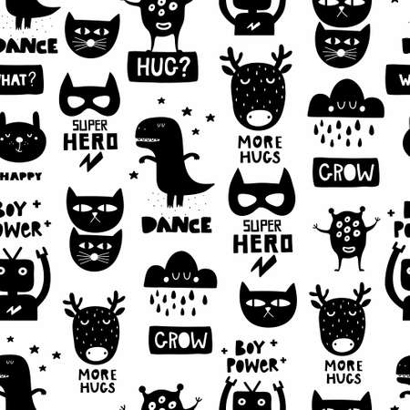 Seamless Scandinavian pattern in black and white colors for nursery surface design or print in fabric. Cool vector background with dinosaur, monster, cat and robot. Ilustração