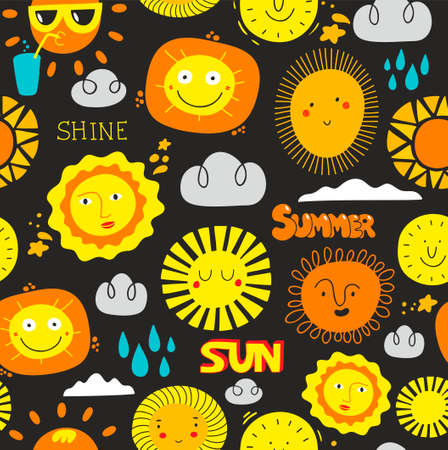Seamless sun pattern with lettering and cartoon characters on dark background.