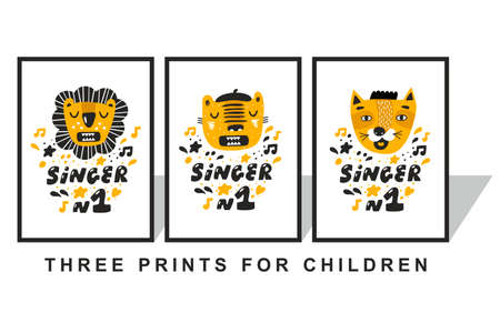 Set of children prints with tropical animals with opened mouth.