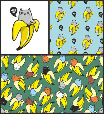 Set with cute and kittens cats in bananas.