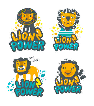 Set of cute lions hand drawn in children style.