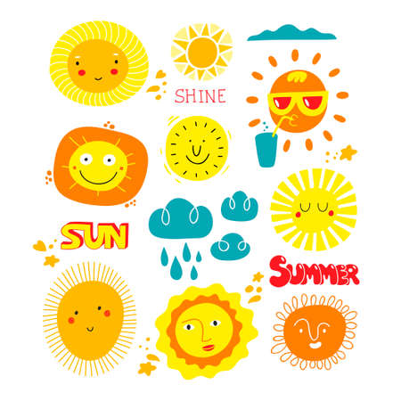 Set of funny sun characters with human faces and lettering.