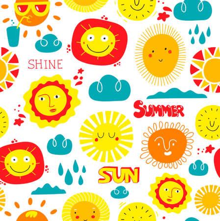 Sunny day seamless pattern with sky elements. Ilustração