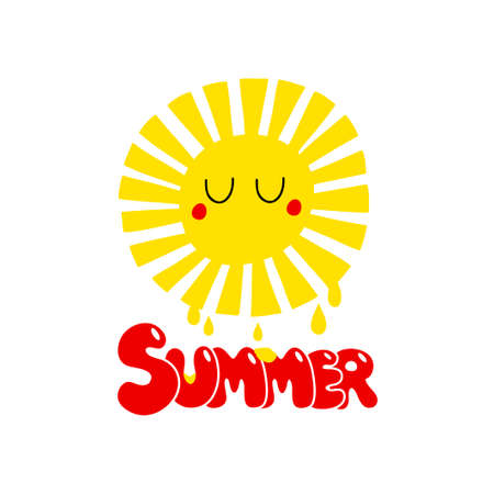 Sleeping summer print with yellow sun and bubble lettering.