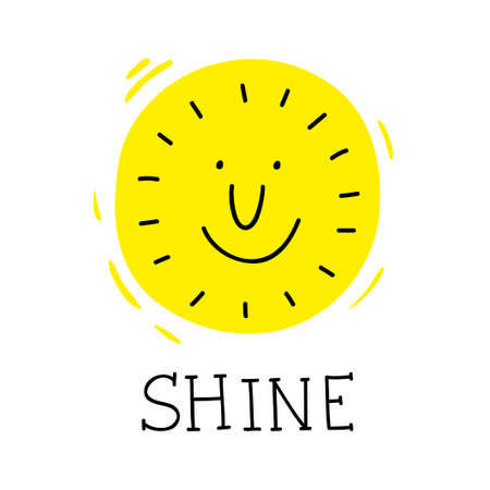 Smile of the sun poster in simple doodle style with lettering.